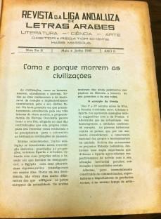 """Fonte: """"Liga Andaluza de Letras Árabe"""", Maio/Junho de 1940. Número 5-6. Acervo da Fundação Biblioteca Nacional – Brasil"""